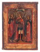 Russian icon ''St. Michael and two selected saints'. - 19th century - 23x17,5 cm.