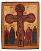 "[Russian]. A staurothek icon ""The Crucifixion of Christ"". - 19th century. - 40x30 cm."