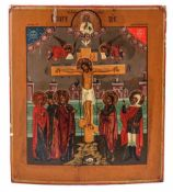 "Russian icon ""The Crucifixion of Christ"". - 19th century. - 35x31 cm."