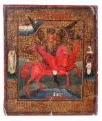 "Russian icon ""Archangle Michael as Horseman of the Apocalypse"". - 18th century. - 17,5x16 cm.Tempera"