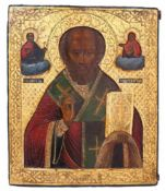 "Russian icon ""St. Nicholas Wonderworker"". - 19th century. - 27,5x23,5 cm."