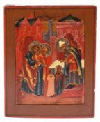 "Russian icon ""The presentation of the Mother of God to the Temple"". - 19th century - 17,5x14 cm."