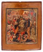 "Russian icon ""The descent into hell"". - 18th century. - 31,5x25 cm."