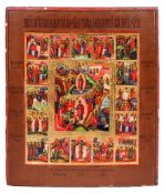 "Russian icon ''Twelve major liturgical feast"". - 19th century. - 36,5x31 cm."