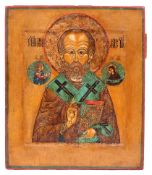 "Russian icon ""St. Nicholas Wonderworker"". - 18th century. - 32x27 cm."