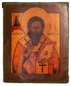 "Russian icon ""St. Basil the Great"". - 19th century. - 31x25,5 cm."