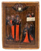 "Russian icon ""The Appearance of Mother of God to St. Sergey of Radonezh"". - 19th century. - 28x22"