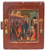 "Russian icon ""The Healing of the Blood-flowing Woman"". 19th. century. - 18x15,3 cm."