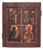 [Russian]. A four partite icon. - 19th century. - 35x30,5 cm.