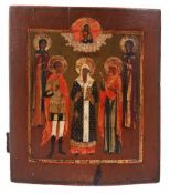 "Russian icon ""St. Alexius Mtropolitan of Kiev with selected saints"". - 19th century. - 35x30,5 cm."