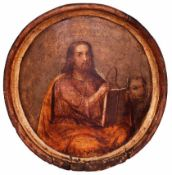 "Russian icon [round plate] ""St. Luke the Evangelist"". - 19th century. - 32,5x33 cm."