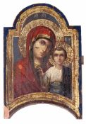 "Russian icon ""Mother of God Kazanskaya"". - 19th century. - 36x24 cm."
