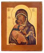 "Russian icon ""Vladimirskaya Mother of God"". - 19th century. - 31x26 cm."