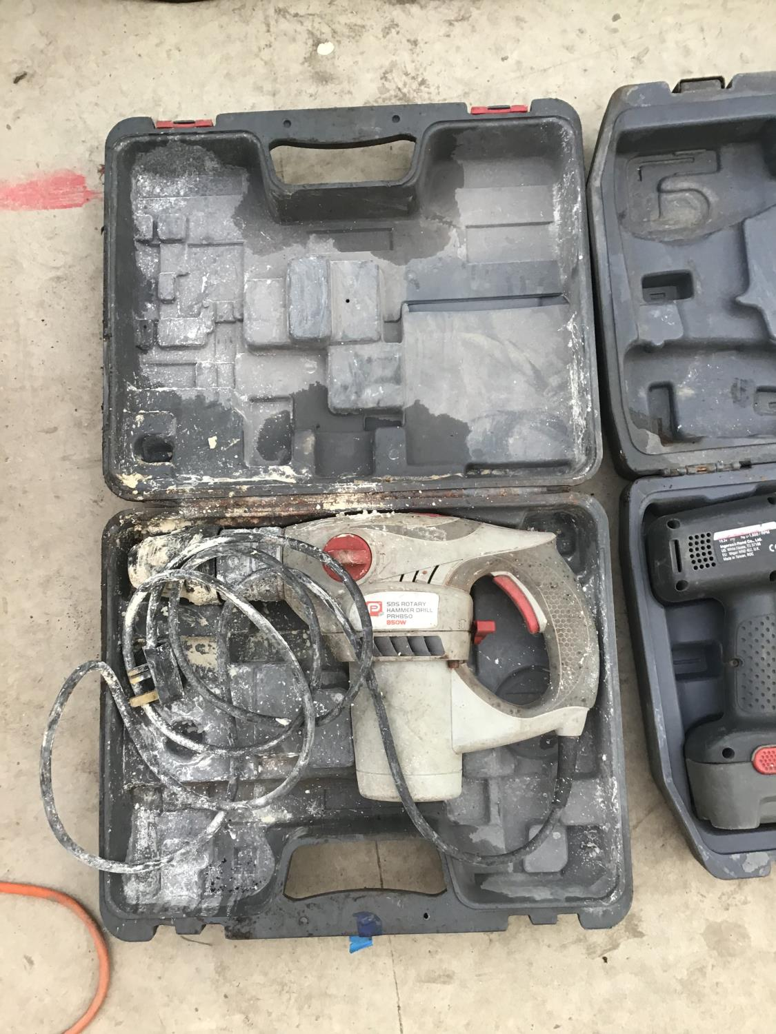 Lot 55 - TWO CASED DRILLS ONE A CORDLESS WITH BATTERY AND CHARGER AND ONE A PERFORMANCE SDS ROTARY HAMMER