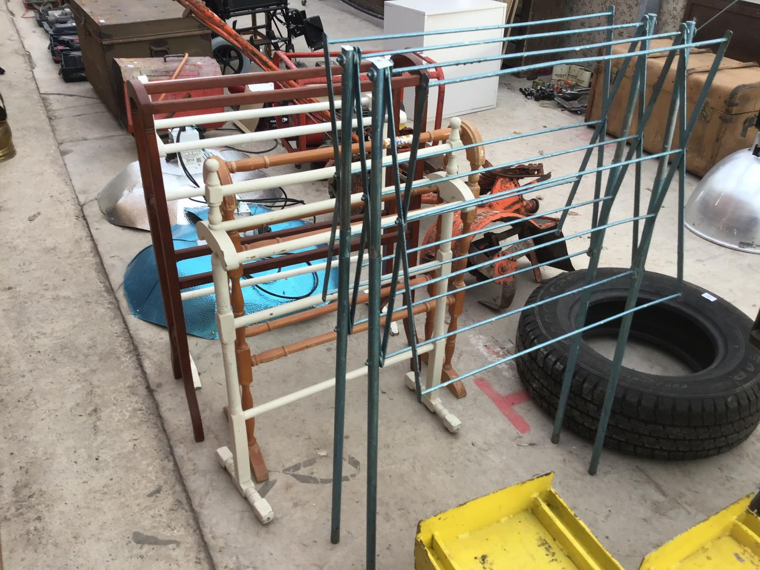 Lot 50 - FIVE VARIOUS TOWEL RAILS AND DRYING RACKS TO INCLUDE FOUR WOODEN AND ONE METAL