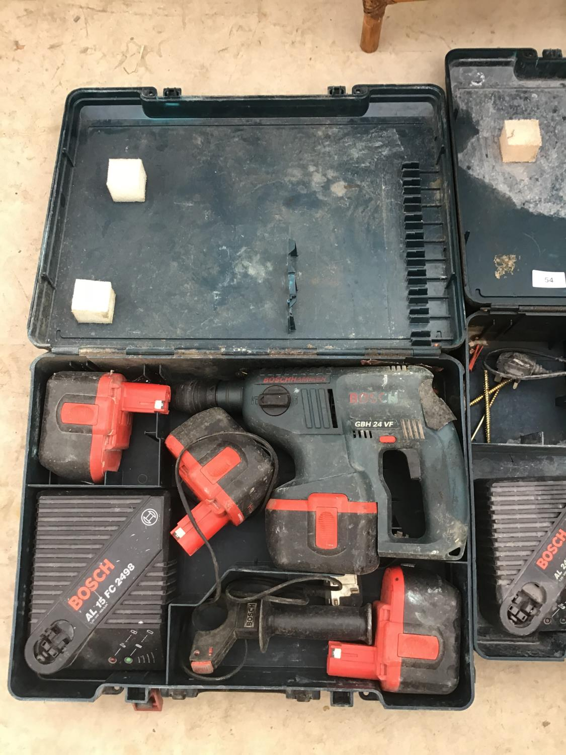 Lot 54 - TWO CASED BOSCH DRILLS WITH BATTERIES AND CHARGERS ONE DRILL IN WORKING ORDER