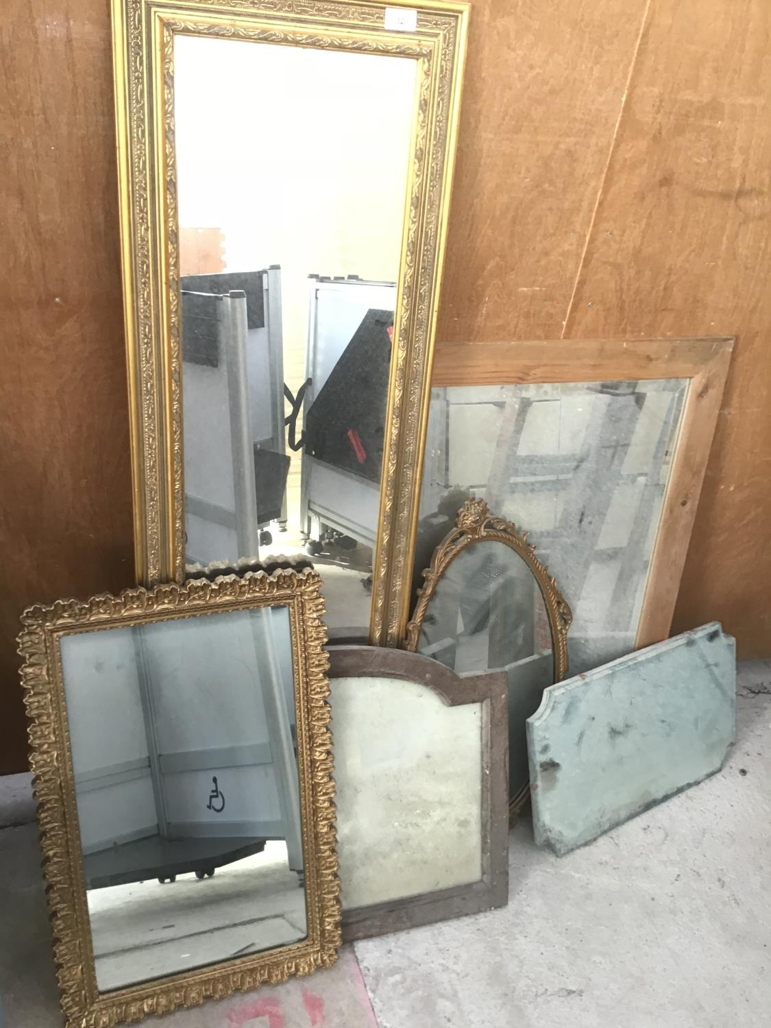 Lot 32 - SIX VARIOUS MIRRORS TO INCLUDE ORNATE GILT FRAMED AND WOODEN FRAMED