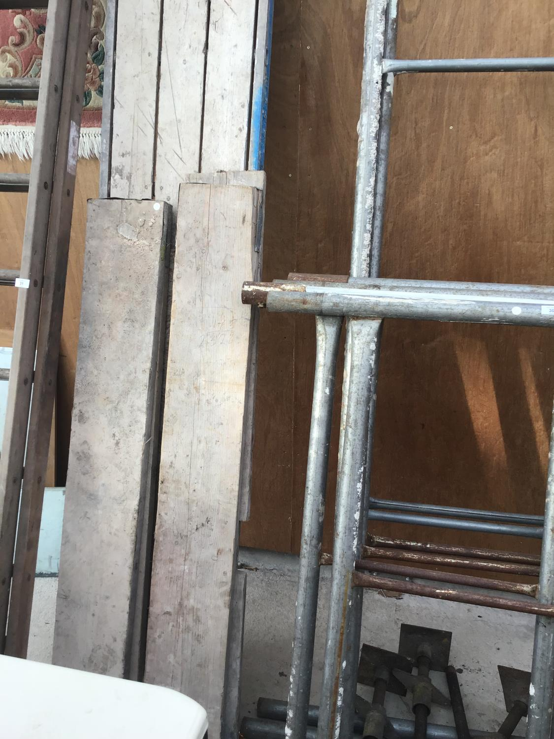 Lot 30 - A SET OF SCAFFOLDING AND PLANKS