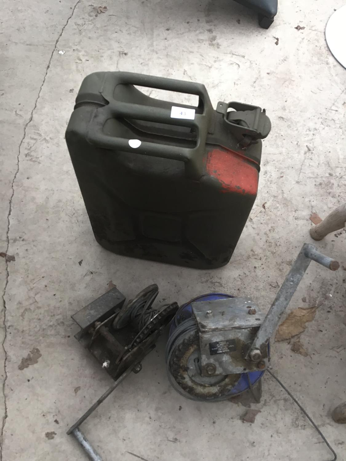 Lot 43 - A VINTAGE JERRY CAN AND TWO TRAILER HAND WINCHES