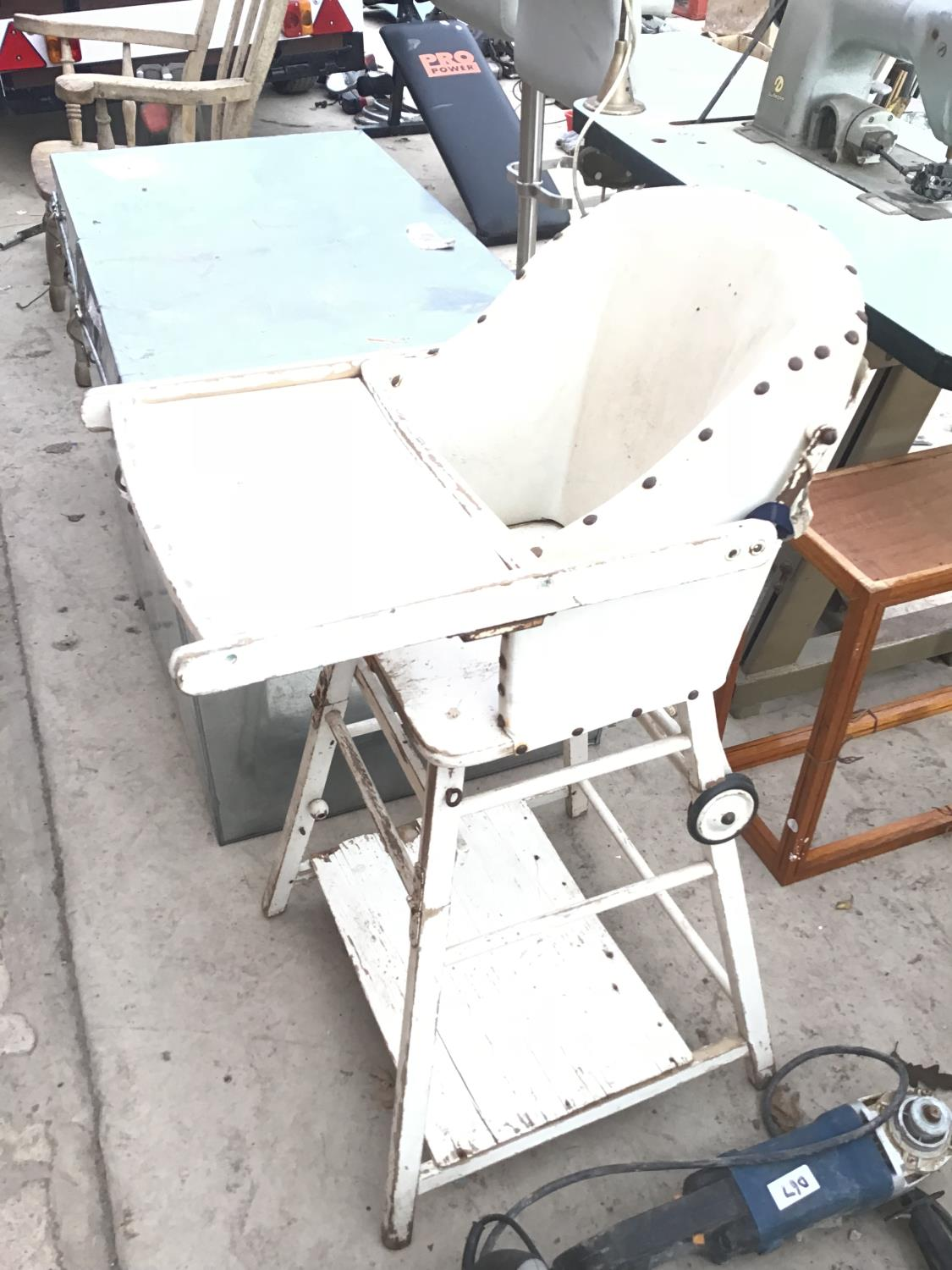 Lot 40 - A VINTAGE WOODEN HIGH CHAIR