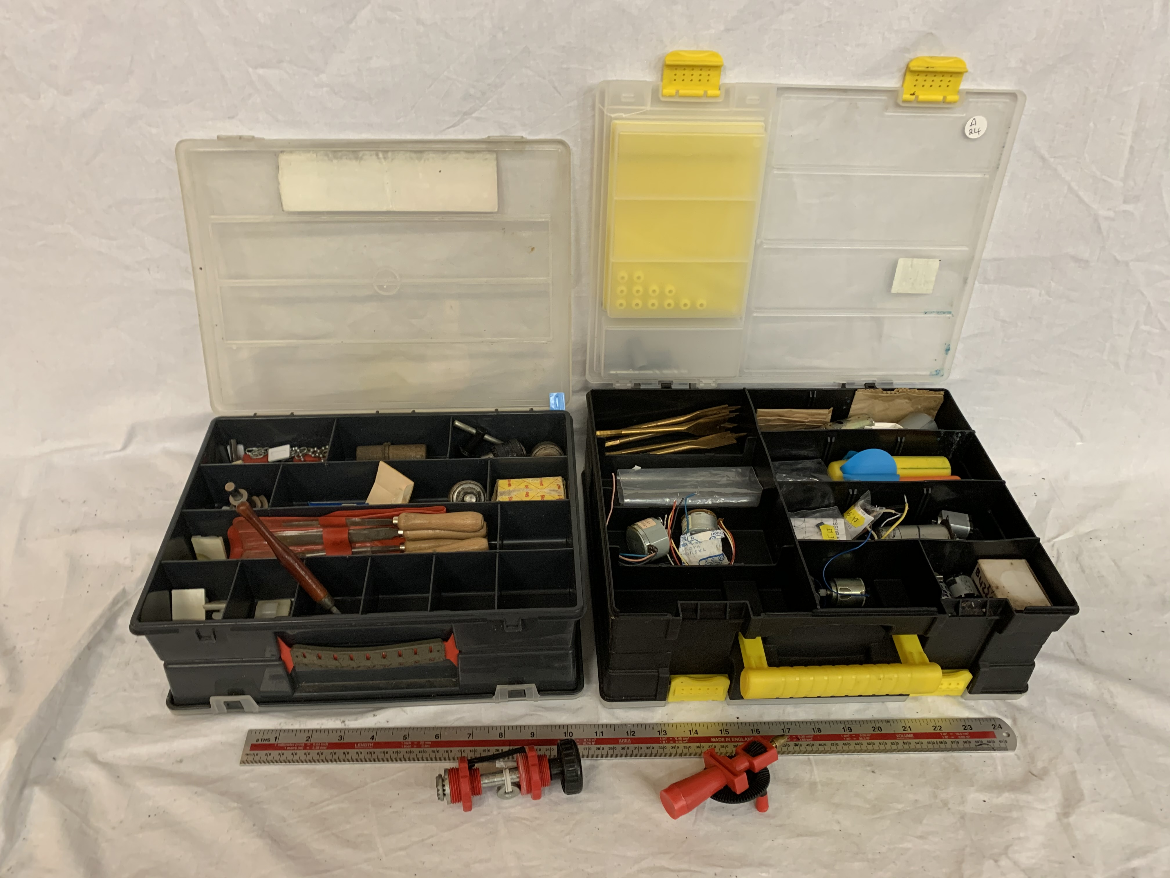 Lot 30 - TWO DOUBLE SIDED PLASTIC TOOL BOXES PACKED WITH MODEL MAKING EQUIPTMENT TO INCLUDE BOAT MODEL SPARES
