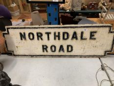 A HEAVY CAST IRON BELIEVED GENUINE LIVERPOOL STREET SIGN NORTHDALE ROAD