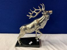 AN IMPRESSIVE CHROME STAG ON A MARBLE BASE