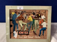A VINTAGE LIGHT UP SIGN FOR IONTEX JEANS AND CASUAL SLACKS