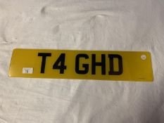 A V5 REGISTRATION AND NUMBER PLATE 'T4 GHD' (GOOD HAIR DAY?) . THE TRANSFER FEE HAS BEEN PAID