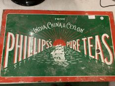 AN ENAMEL SIGN PHILLIPS PURE TEAS ADVERTISING SIGN