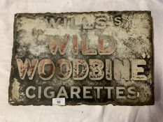 A VINTAGE DOUBLE-SIDED METAL ADVERTISING SIGN ' WILLIS'S WILD WOODBINE CIGARETTES'