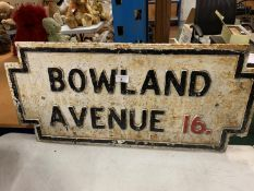 A HEAVY CAST IRON BELIEVED GENUINE LIVERPOOL STREET SIGN 'BOWLAND AVENUE 16'