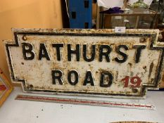 A HEAVY CAST IRON BELIEVED GENUINE LIVERPOOL STREET SIGN 'BATHURST ROAD'