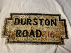 A HEAVY CAST IRON BELIEVED GENUINE LIVERPOOL STREET SIGN DURSTON ROAD