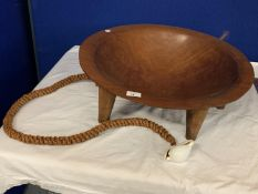 A LARGE TREEN SIX LEGGED BOWL WITH ROPE AND SHELL DETAIL