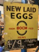 A 'NEW LAID EGGS FROM BOCM FED HENS' DOUBLE SIDED METAL SIGN