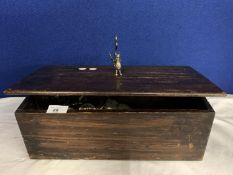 A VINTAGE DARK WOOD LIDDED BOX WITH DRAGON METAL HANDLE DETAIL TO INCLUDE A QUANTITY OF WATCH