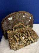 TWO VINTAGE HANDBAGS ONE CROCODILE AND THE OTHER SNAKESKIN