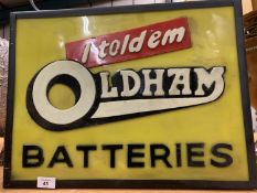 A 'I TOLD EM' OLDHAM BATERIES ILLUMINATED LIGHT BOX ADVERTISING SIGN