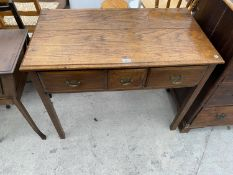 """A GEORGIAN OAK SIDE TABLE ENCLOSING TWO LONG AND ONE SHORT DRAWER, 37"""" WIDE"""
