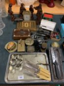 A LARGE SELECTION OF METAL AND WOODEN ITEMS TO INCLUDE TWO INLAID BOXES AND A BRASS CARRIAGE CLOCK