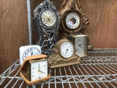 A COLLECTION OF CLOCKS TO INCLUDE A CARRIAGE CLOCK AND FURTHER BAROMETER