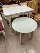 A PAINTED SIDE TABLE WITH FORMICA TOP AND ROUND TABLE WITH FORMICA TOP