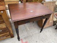 """AN EDWARDIAN MAHOGANY SIDE TABLE WITH SINGLE DRAWER, 30x21.5"""""""