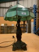 A METAL TABLE LAMP WITH A GREEN GLASS SHADE IN THE ART DECO STYLE