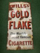 A LARGE VINTAGE METAL ADVERTISING SIGN 'WILLS' S GOLD FLAKE' 92CM X 45CM