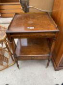 A SQUARE INLAID WALNUT SIDE TABLE WITH LOWER DRAWER AND SERVING SLIDE