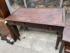 """A 19TH CENTURY MAHOGANY SIDE TABLE ON TURNED AND FLUTED LEGS, WITH TWO DRAWERS, 42"""" WIDE"""