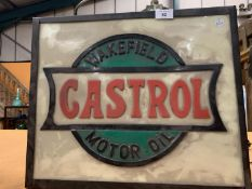 A 'WAKEFIELD CASTROL MOTOR OIL' ILLUMINATED LIGHT BOX ADVERTISING SIGN