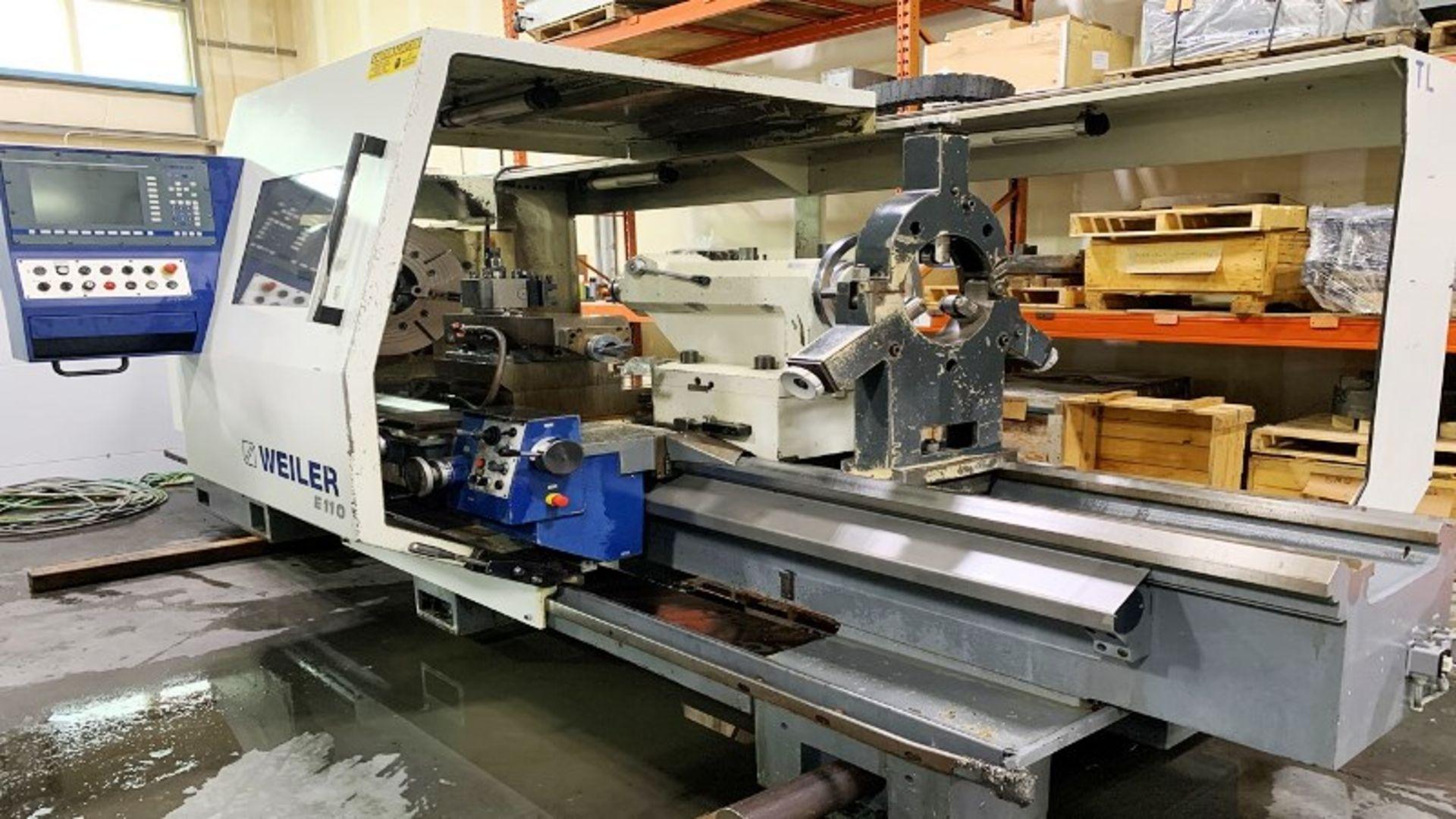 Lot 36 - Weiler Model E110/3000 10.2'' Bore CNC Flatbed Lathe